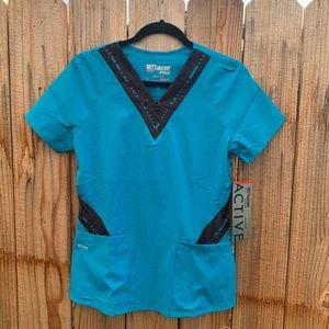 NWT Greys Anatomy Blue XS Scrub Top